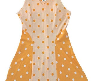 Retro 60s 70s Mellow Yellow Polka Dot Mini Dress /  Medium Large / Full Skirt / Scooter
