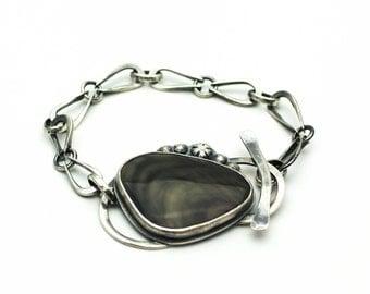 Imperial Jasper Bracelet Sterling Silver Hand Forged Statement Piece JMK