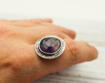 Super Seven Melody Stone Ring Or Pendant Sterling Silver Amethyst Smoky Quartz JMK Made to Finish