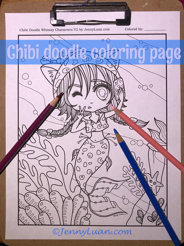 Chibi Selfie Mermaid Doodle Anime Manga Coloring Page For