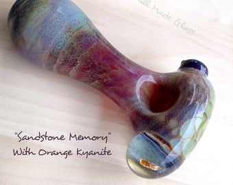 Sandstone Memory~Glass Spoon With Orange Kyanite; Functional Glass Art; Crystal Bowl; Healing Crystals; Heady Glass
