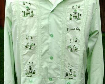 vtg green embroidered long sleeve guayabera shirt mexican wedding shirts mens 2 rockabilly james name nicaragua