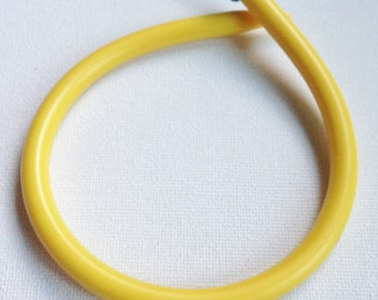 Bangle - Funky handmade vintage chunky yellow early plastic knitting needle bangle  blue knob- internal diameter is 68mm