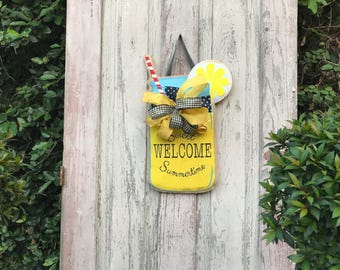 Summer Burlap Door Hanger,Summer Door Hanger, Burlap door hanger,summer Door wreath, Summer front door wreath,Lemonaid door hanger
