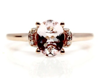 14kt Rose Morganite and Diamond Ring Rose Gold Morganite Engagement Ring Peach Ring Rose Gold Ring