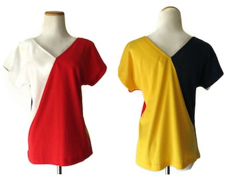 Colorblock Blouse Mondrian Inspired Top Mod Cap Sleeve Dolman Shirt 1980s 80s Red White Blue Yellow Abstract Art Size Medium Large