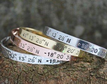 Personalized Bracelet, Cuff Bracelet, Custom Coordinates, Bracelet Compass Cuff, Location Bracelet, personalized Gift