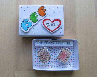 BFF Peanut Butter & Jelly Card, Handmade 3D Matchbox Greeting, Secret Message Best Friend Card, You Are Peanut Butter to My Jelly