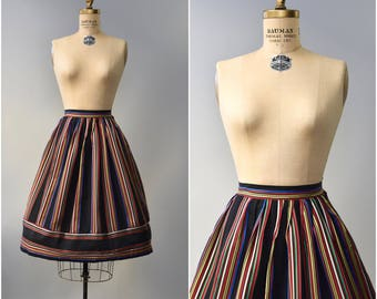 1960's black carnival lights striped skirt • small