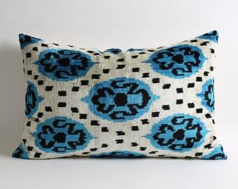 Silk velvet ikat pillow cover 16x24 lumbar velvet pillow designer pillows eclectic boho home decor blue black white