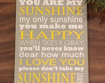 You Are My Sunshine My Only Sunshine canwas wall sign popular children's quote custom colors nursery wall decor playroom wall sign sunshine
