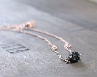 Raw Rough Black Tourmaline Necklace in Sterling Silver or Gold Filled, Natural Black Tourmaline Nugget, Delicate Layering Gemstone Necklace