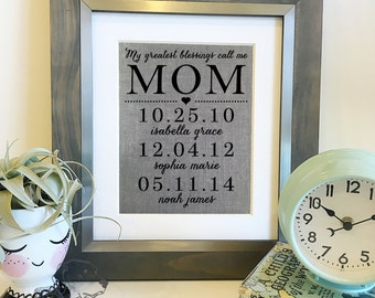 SALE My greatest blessings call me mom | Grey Burlap Print | Personalized Mother's Day Gift | Important dates sign | Frame not included