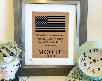 SALE Thin Blue Line Blessed are the peacemakers Burlap Print | Law Enforcement LEO Christmas Gift | Police Officer Gift | Frame not included
