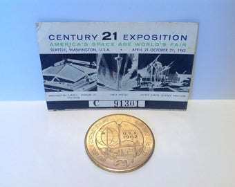1962 Seattle Worlds Fair Ephemera. Dollar Token & Century 21 Club Charter Members Pass. Worlds Fair Memorabilia. Seattle Souvenirs.