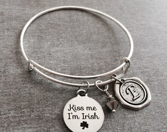 SALE, Kiss me I'm Irish, Ireland, Irish, St Patricks Day,  Shamrock, Stainless steel, Silver Bracelet, Charm Bracelet, Silver Jewelry, Gift
