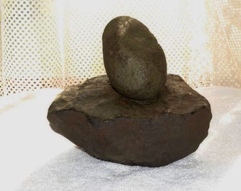 Indian Artifact - Authentic Paleo Period Nutting Stone Set Creek Find in Western Kentucky