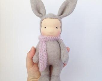 Bunny doll waldorf Cashmere rabbit doll - Steiner doll 10inch