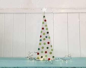 Modern Wooden White Polka Dot Christmas Table Mantel Tree Decor