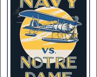 "Vintage Notre Dame, Navy, Football Poster, Fighting Irish Wall Art Gift, Midshipmen Art Print, 1929 Cover Art, 8x10"", 11x14"", Free Ship"