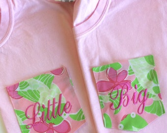 Big Little Sorority Shirt with Lilly Pulitzer Pocket  - LIMITED EDITION