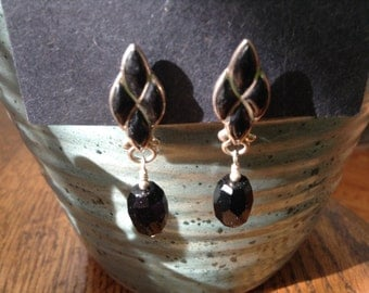 Repurposed Zuni Inspired Onyx post Earrings
