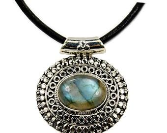 Mystical Medallion Labradorite & .925 Sterling Silver Necklace Leather Cord Necklace , AF415
