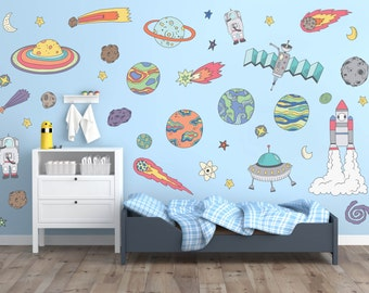 Outer Space Wall Decals, Outer Space Nursery Decor, Outer Space Kids Room, Outer Space Wall Art, Space Wall Decals, Space Theme Decor