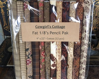 "Fabric: Fat Eighth Pencil Pak- ""Cowgirl's Cottage"" -  12- 9x22 inch pieces"