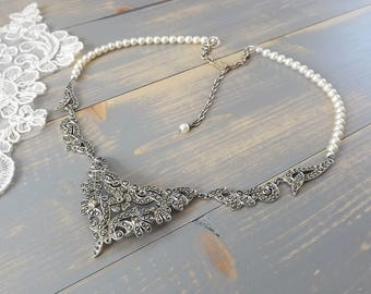 Vintage Marcasite Forehead Band, Marcasite Bridal Circlet, Pearl, 1920's Browband, Flapper, Headpiece, Hair Chains, Gatsby, Bridal Headpiece