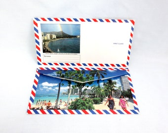 "Photo Air Mail Envelopes from Hawaii Pack of 6 Red White Blue with Photo 7-1/2 x 3-3/4"" Scrapbook Journals Invitations Paper Ephemera"