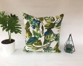"Outdoor Tropical Pillow, 20""x20"" Green Leaves Navy corrals Cushion Cover, Flamingo Pillow, Tropical Patio Pillow Cover, Banana leaves Pillow"