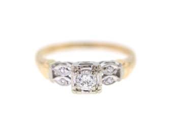 Vintage Engagement Ring, Mid Century Diamond Wedding Ring, Two Tone Diamond Wedding Set