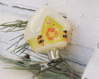 RARE Antique Russian Christmas glass ornament House on pin. Christmas decor, Retro Tree decoration, Made in Ussr
