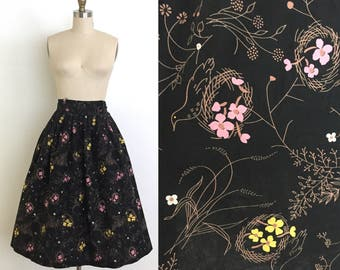 vintage 1950s skirt | 50s novelty cotton full skirt with an intricate birds, bird nests and floral print