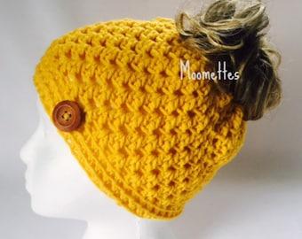 Handmade Messy Bun Hat Mustard Yellow Beanie Wood Button Runner Jogger Ponytail Top Knot Crochet Teens Women