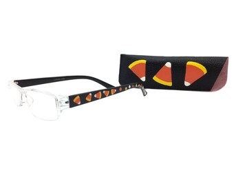 Women's 1.25 Strength Halloween Reading Glasses with Hand Painted Candy Corn and Matching Eyeglasses Case