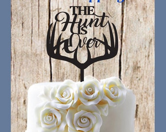 The Hunt Is Over Deer Antlers Wedding Cake Topper Doe and Buck  MADE In USA…..Ships from USA