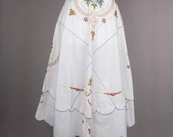 1970s embroidered vintage boho midi skirt