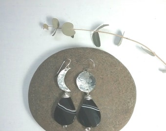 moon earrings, small silver moon earrings, earthy boho dangle earrings, bohemian wedding