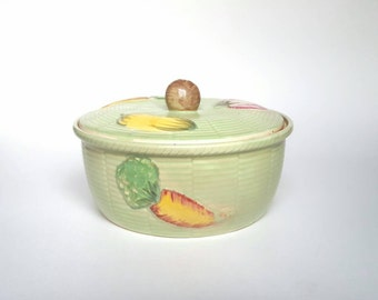 Vintage Casserole Dish Hand Painted Green Porcelain Serving Bowl and Lid Mushroom Carrot Tomato Vegetable Kitchen Veggie Decor Japan Epsteam