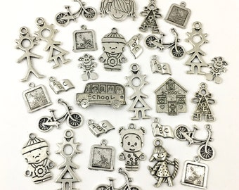 BULK,30 school children charms mix,silver tone #CH 544