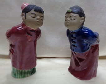 Pair of Vintage Bowing Chinese Boy and Girl Clay Sculpted & Painted Statues