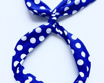 Royal Blue Polka Dots Wire Headband by Byrd