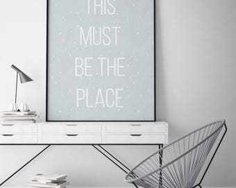 Minimal Modern Typographic Poster Print // This Must be the Place // Talking Heads // Home Decor