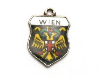 Vienna Austria Coat of Arms Travel Shield 800 Silver Enamel Bracelet Charm Wien