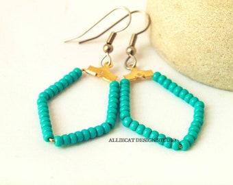 Boho Earrings | Bohemian Earrings | Turquoise Geometric Earrings