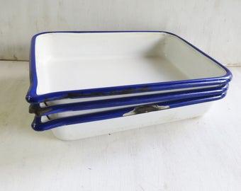 "3 X Vintage Cesco Enamelware Photography Trays - white,blue trim, rectangle,6""x9"" - Storage, Organization Trays, Vintage Photography Supply"