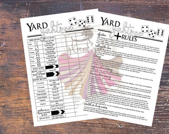 Yard Yahtzee (Yardzee) Score Card and Rules Set