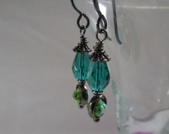 Pretty and Rustic Green BOHO Czech Glass Earrings Sparkly Emerald Teardrops for Feminine Earrings Hypoallergenic Black Niobium French Hooks